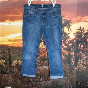 7 skinny crop and roll jeans